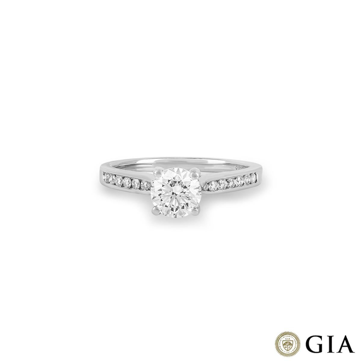 18k White Gold Round Brilliant Cut Diamond Ring 0.90ct H/VS1